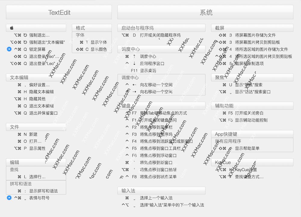 KeyCue for Mac v9.8 中文汉化破解版下载 快捷键辅助工具