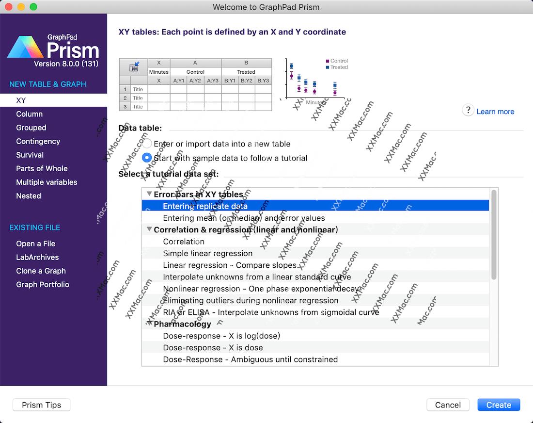 graphpad prism 8 for Mac v8.0.0(131) 英文破解版下载 医学绘图软件
