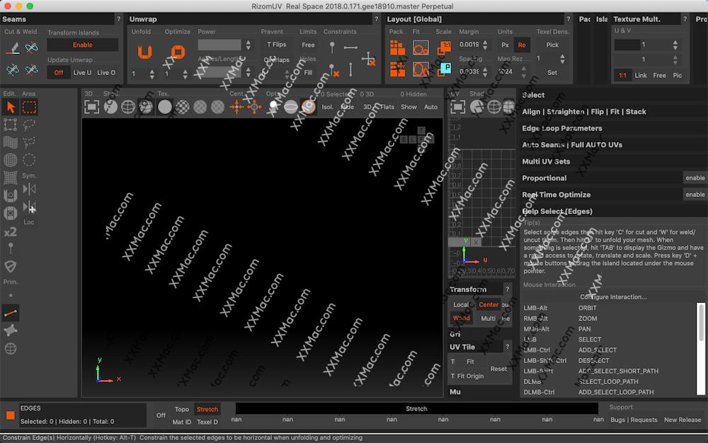 Rizom-Lab RizomUV Real Space 2018 for Mac v2018.0.171 英文破解版下载 UV贴图软件