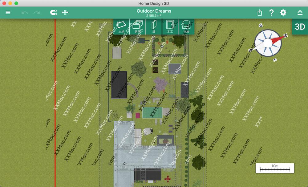 Home Design 3D Outdoor & Garden for Mac v4.0.8 中文破解版下载 户外3D家居设计软件
